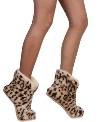 Тапочки теплушки высокие Леопард